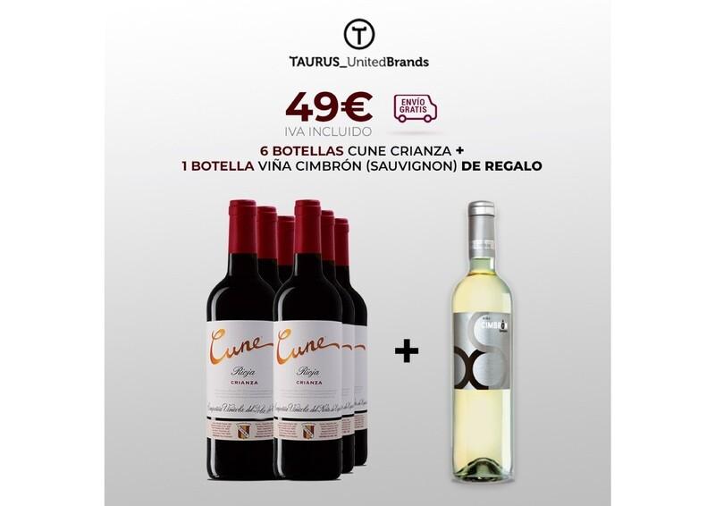 Caja 6 botellas Cune Crianza + 1 botella Ciña Cimbrón Sauvignon Blanc de regalo