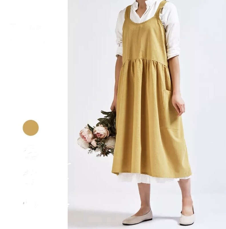 Mustard Apron with pockets