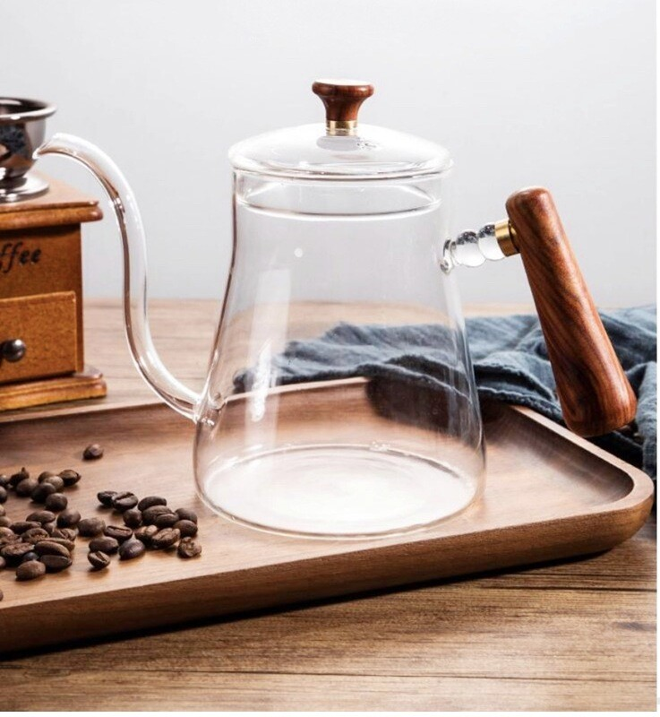 Glass teapot with wooden handles