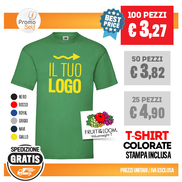 "T-SHIRT FRUIT OF THE LOOM ""VALUEWEIGHT T"" CON LOGO"