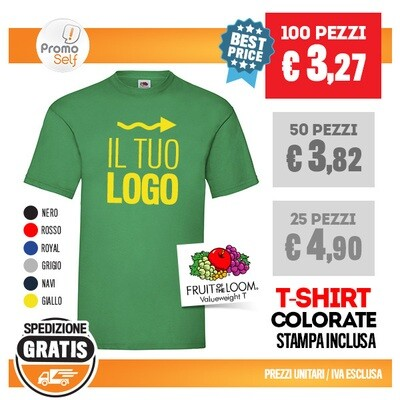 """T-SHIRT FRUIT OF THE LOOM """"VALUEWEIGHT T"""" CON LOGO"""