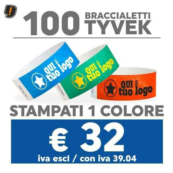 100 Braccialetti Tyvek® con Stampa SPEDIZIONE GRATIS