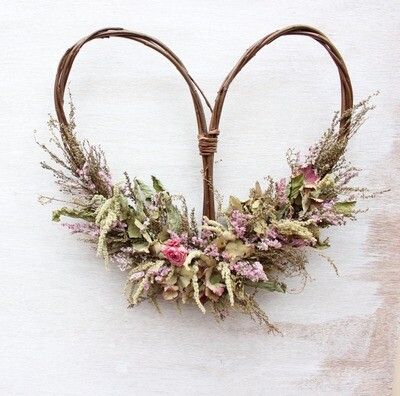 Dried Flower Heart Wreath
