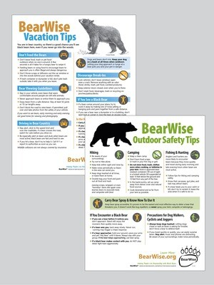 Combo Flyer: BearWise Vacation / Outdoor Safety Tips