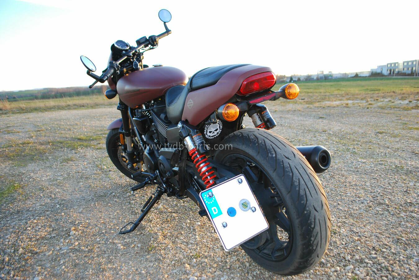 Harley Davidson Street Rod XG 750 A - Heckumbau mit seitlichen Kennzeichenhalter (Fender Eliminator Kit) für Original HD Blinker