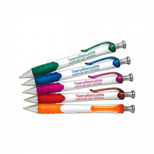 Snowy White Barrel Ballpoint Pen - 100 pcs Total