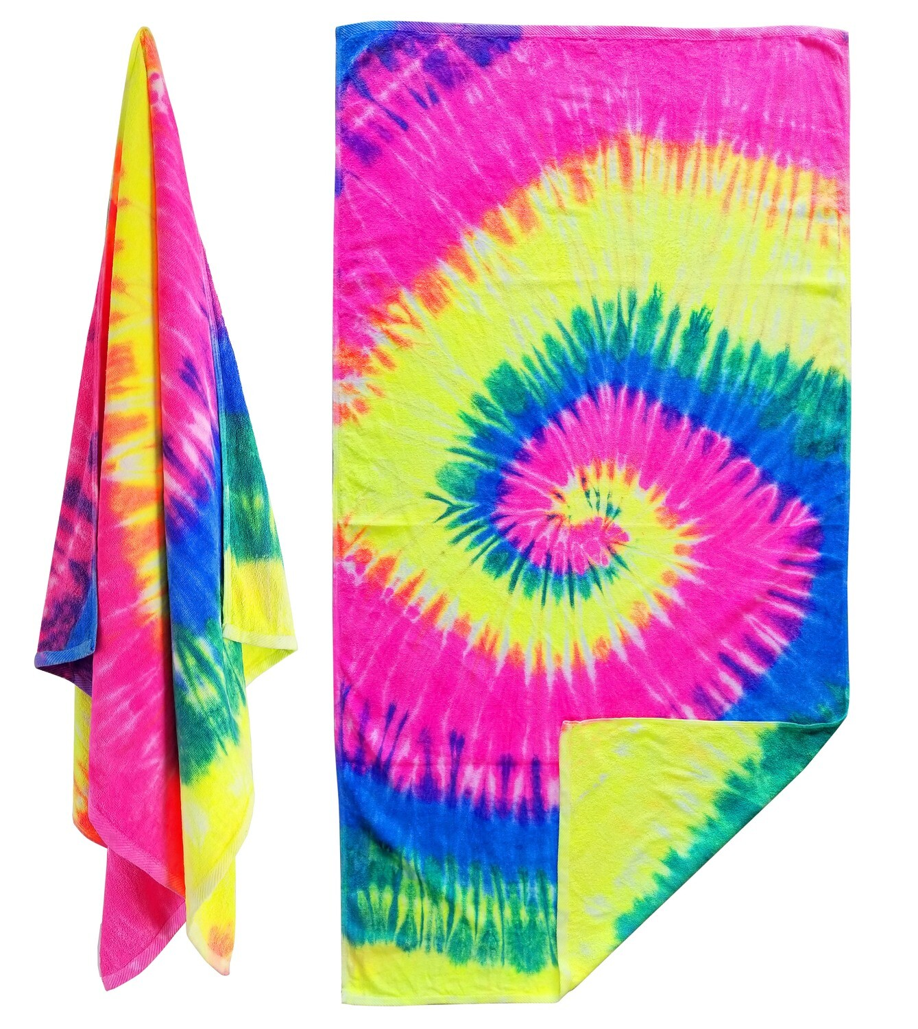 One of a Kind Tie Dye beach towels Done by Hand. The Real Deal! Don't settle for PRINTED TIE DYE! [Packs of 2] 30x60 11.5 LBS per dz weight beach towel. 100% cotton as towels should be!
