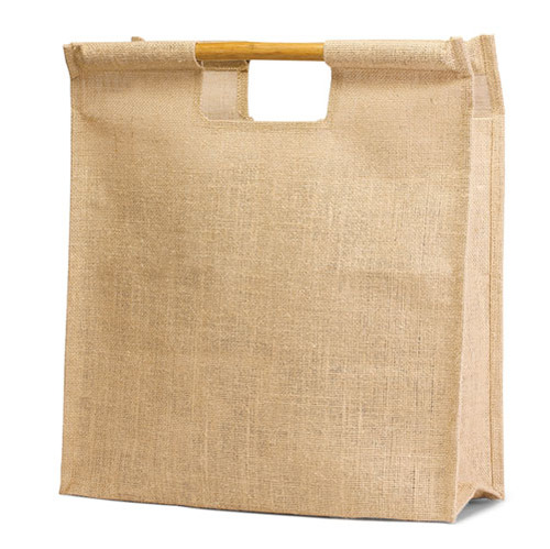 Jute Shopping Bag with Natural Bamboo Handle. (Price for 50 pcs)