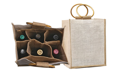 Six Bottle Jute Wine / Grocery tote With Cane handles. (Price for 50 pcs)
