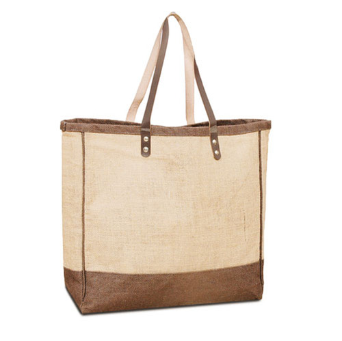 Jute Shopping tote with Leather handles.Color Sage green is close to PMS 583. (Price for 50 pcs)