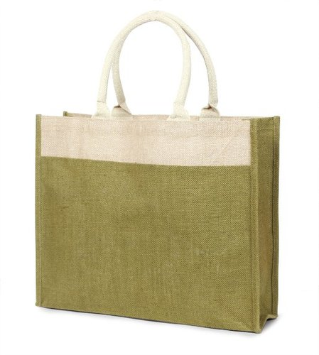 Two tone jute shopping bag with cotton webbed handles. (Price for 50 pcs)