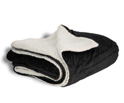CLOSE OUT SALE 50x60 Black Micro Mink Sherpa Blanket