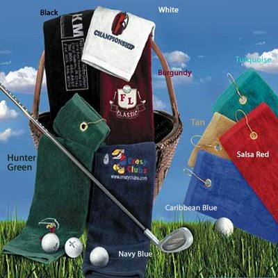 16x25 Tri-Folded Golf Towels - Velour 3.5 Lb\Dz 100% Combed Cotton, Combed Cotton Loops by Royal Comfort. Blank 12 Pcs
