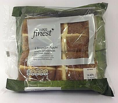 Tesco Finest Bramley Apple & Cinnamon Hot Cross Buns