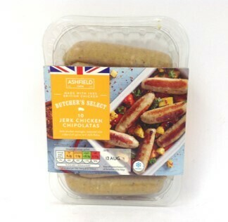 Aldi Ashfield Butcher's Select 10 Jerk Chicken Chipolatas