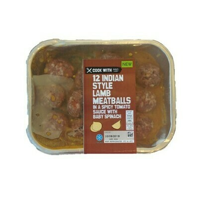 M&S 12 Indian Style Lamb Meatballs in a Spicy Sauce with Baby Spinach