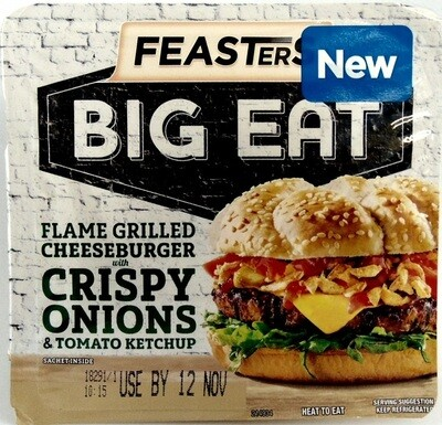 Feasters Big Eat: Flame Grilled Cheeseburger with Crispy Onions & Tomato Ketchup