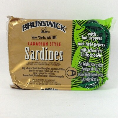 Brunswick Canadian Style Sardines with Hot Peppers