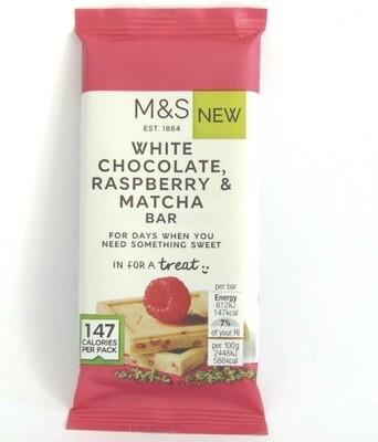 Marks and Spencer White Chocolate, Raspberry & Matcha Bar