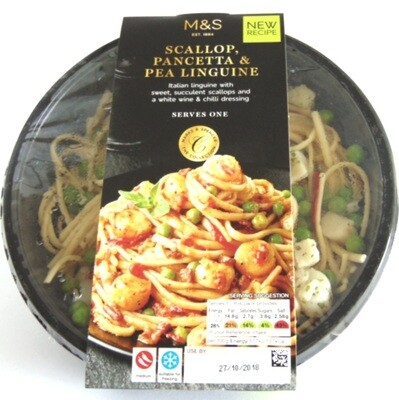 Marks & Spencer Scallop, Pancetta & Pea Linguine
