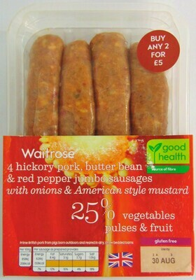Waitrose Hickory Pork, Butter Bean Jumbo Sausages