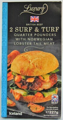 Iceland Luxury 2 Surf and Turf Quarter Pounders with Norwegian Lobster Tail Meat
