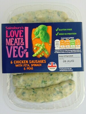 Sainsbury's Love Meat & Veg! Chicken, Feta & Spinach Sausages