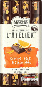 Les Recettes de l'Atelier Orange Zest & Cacao Nibs Dark Chocolate Sharing Bar