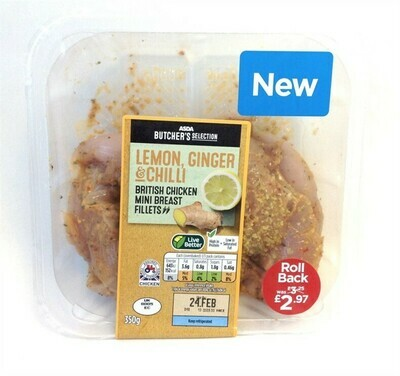 ASDA Butcher's Selection Lemon, Ginger & Chilli British Chicken Mini Breast Fillets