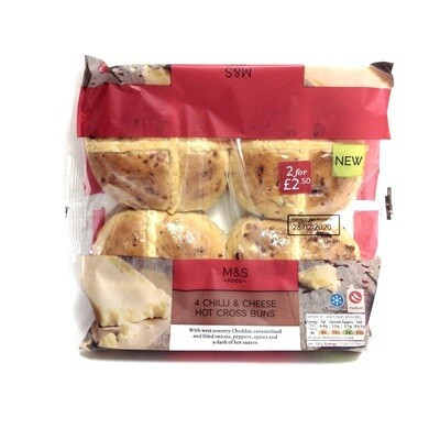 M&S 4 Chilli & Cheese Hot Cross Buns