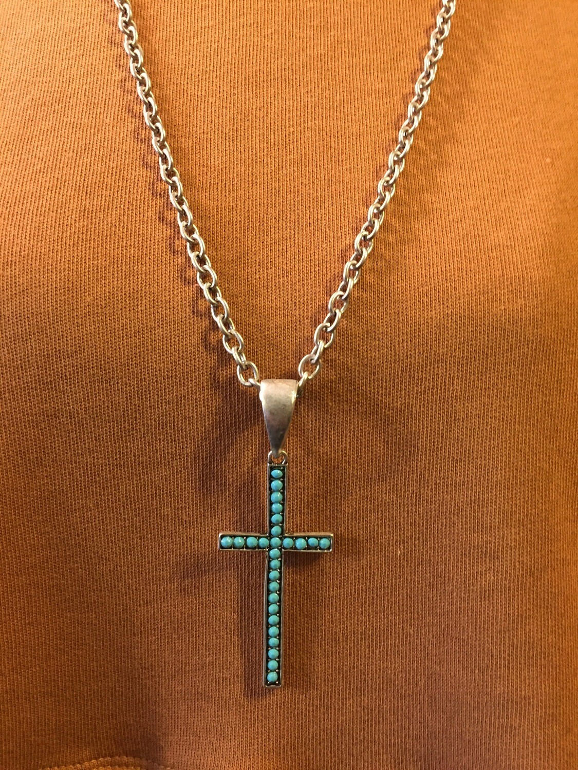 "turquoise 2.5"" long cross pendent necklace"