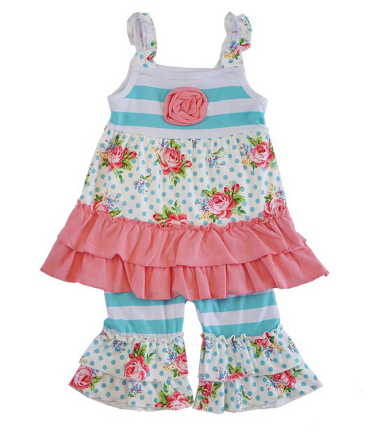 AAC-Blue/Pink Stripe Ruffle 2pc girls set