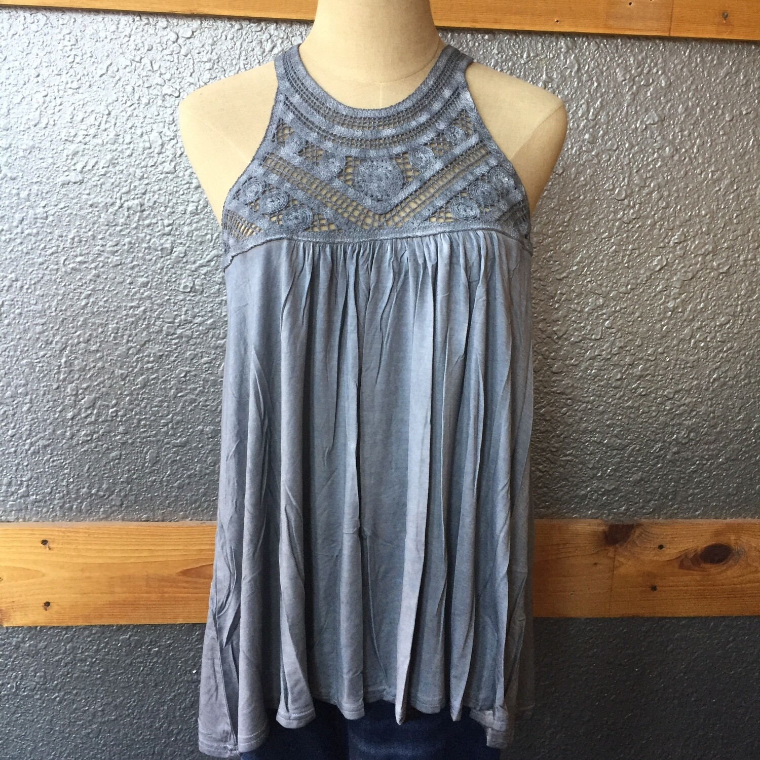 AAC-Crochet Detail Sleeveless Top by POL - Gray