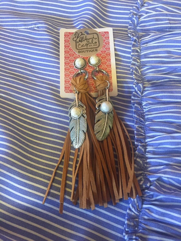 AAC- Boho Metal Feather N Leather Earrings