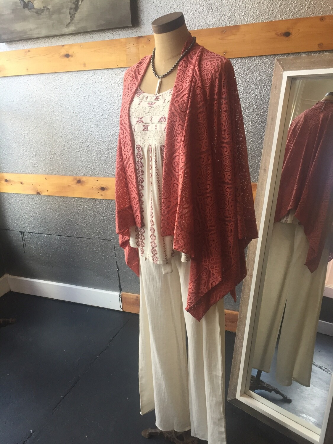 AAC - Light weight lace pancho with open front