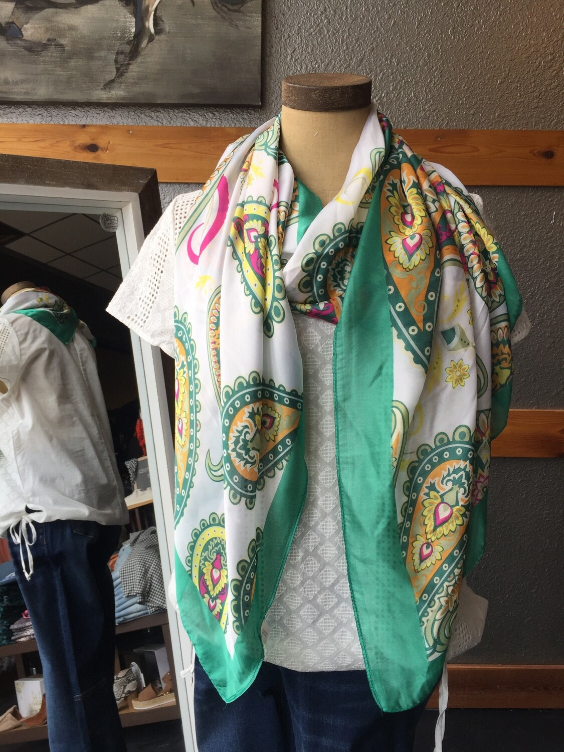 AAC-$20.00 Soft Scarf Paisley Print 100% Polyester