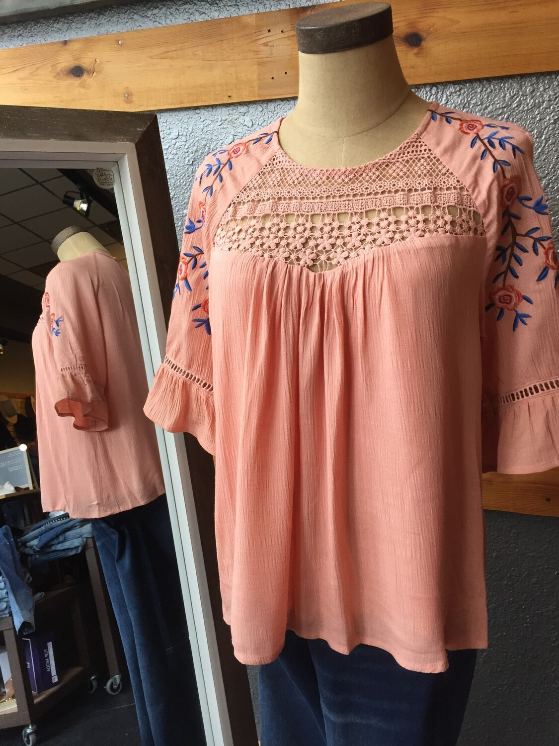 short sleeve rayon ruffle embroidered top