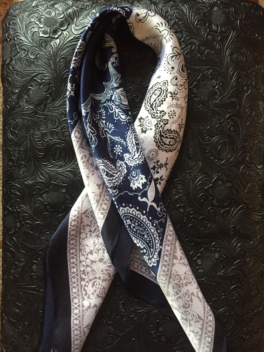 "AAC- Neckerchief - 2 Tone - Navy/Ivory 28""x28"""