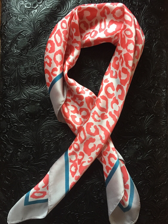 "AAC-Neckerchief Coral/Silver 28""x28"" Leopard Print"