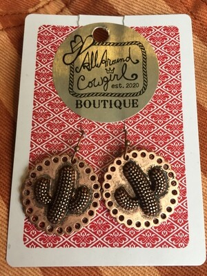 AAC- $12.00  Cactus Copper Earrings