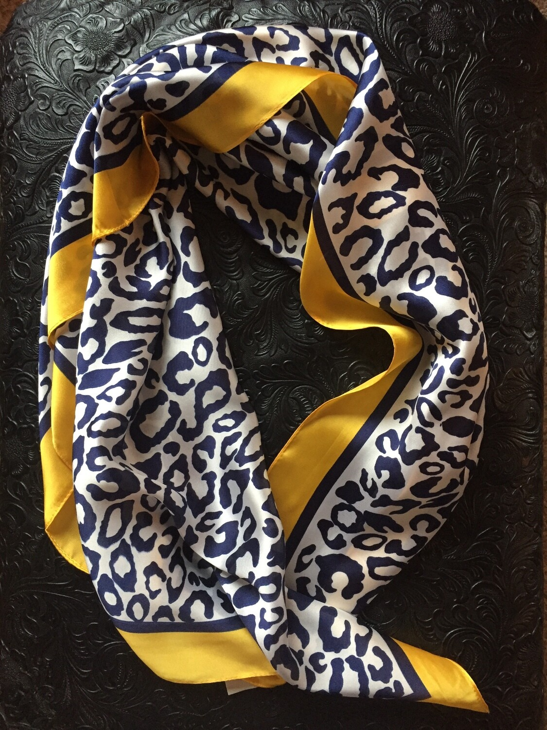 AAC- Navy and Yellow Leopard Print Neckerchief
