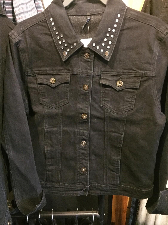 AAC-Black Ladies Denim Jacket with Detailed Collar
