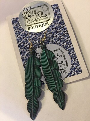 AAC-Feather etched metal earrings