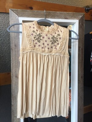 embroidered top Pol Mustard sleeveless