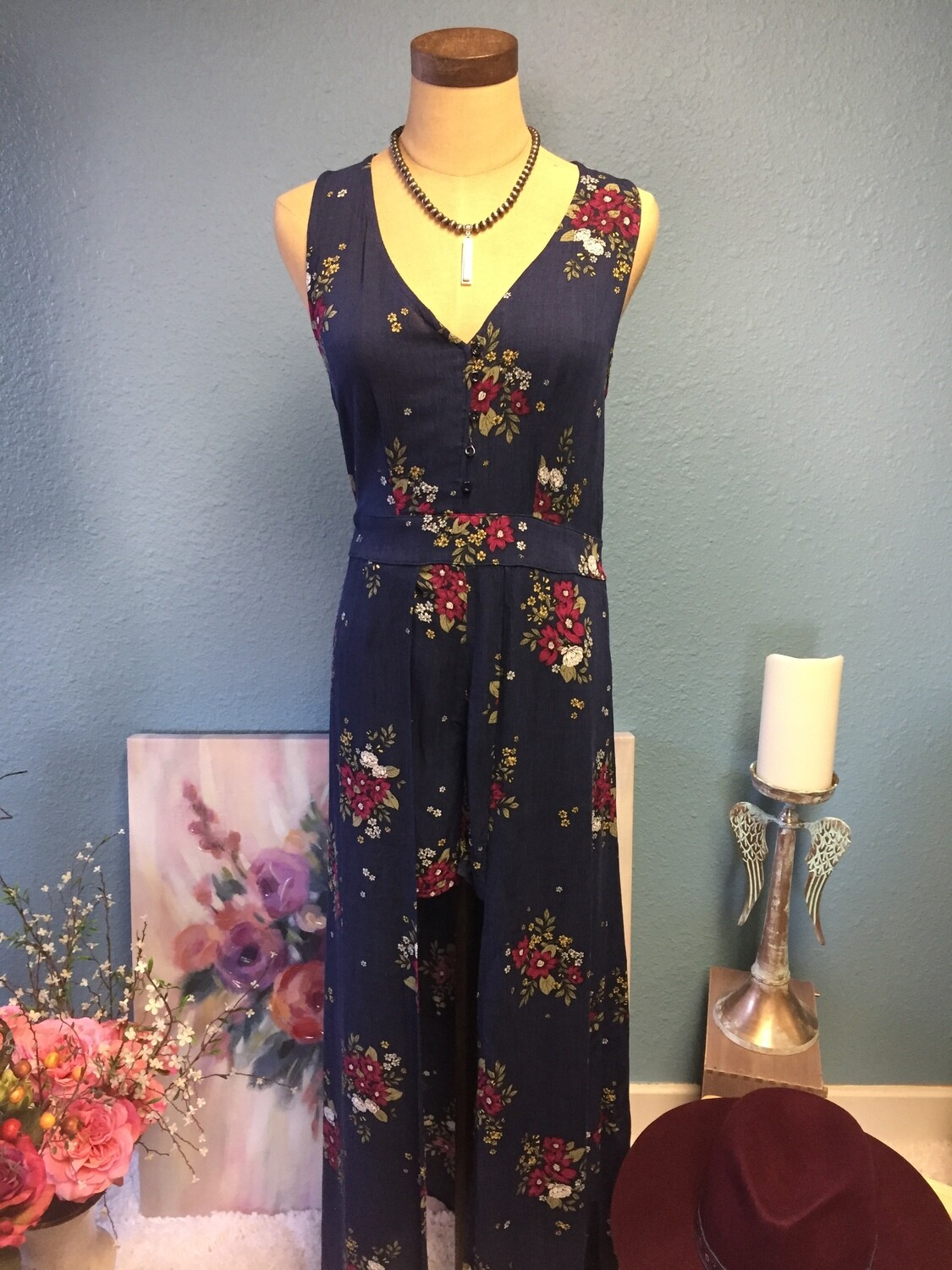 AAC - Navy Floral Print High Low Dress with Shorts