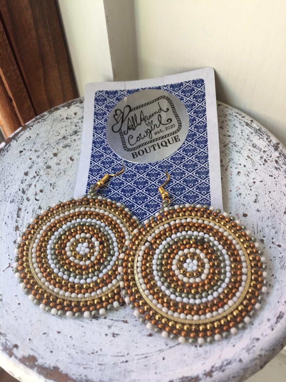 AAC -  Round Boho Beaded Earrings $18.00