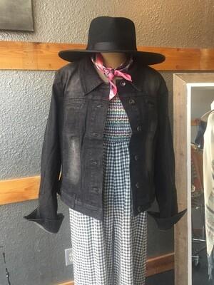 AAC-Lightly Distressed Black Wash Denim Jacket