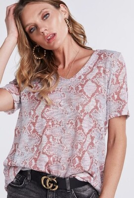 AAC-Snakeskin Print Deep U-neck top