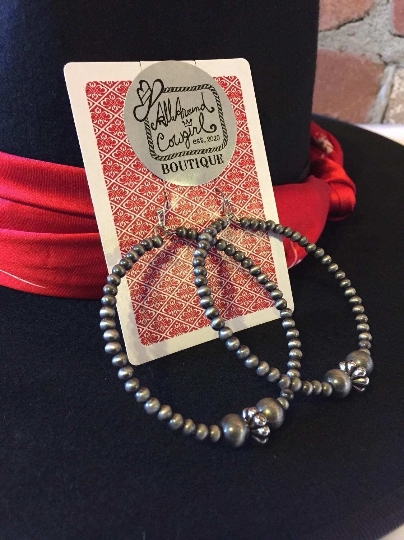 """Big 2.5"""" tiny 4mm navajo pearl hoop earrings"""
