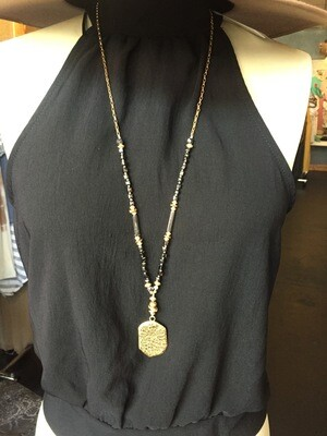 AAC-$30.00 Necklace with Beads, Hammered metal Hex